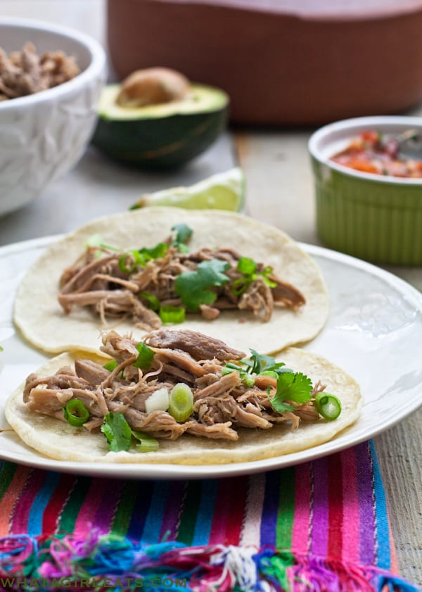 Green Chile Pork Colorado {Slow Cooker Recipe} from What A Girl Eats
