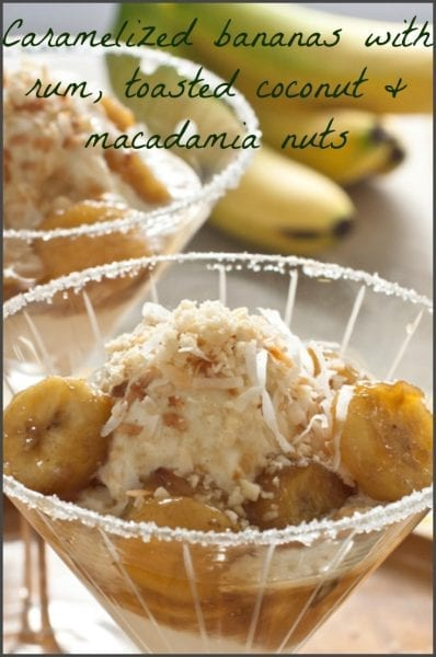 Bananas Caribbean are a tropical twist on Bananas Foster with Toasted Coconut and Macadamia Nuts.