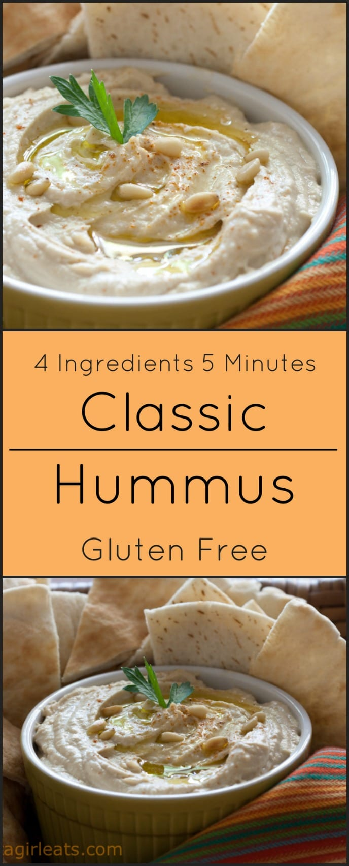 Easy 4 ingredient hummus takes just 5 minutes and is also gluten free!
