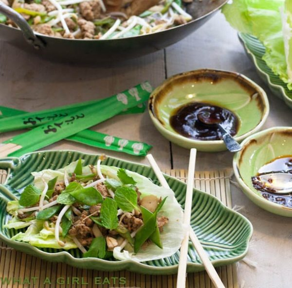 Chinese Lettuce wraps on green bamboo plates