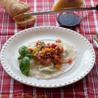 Gorgonzola and Ricotta Homemade Ravioli, topped with Fresh Tomato Summer Pasta Sauce | Recipe from WhatAGirlEats.com