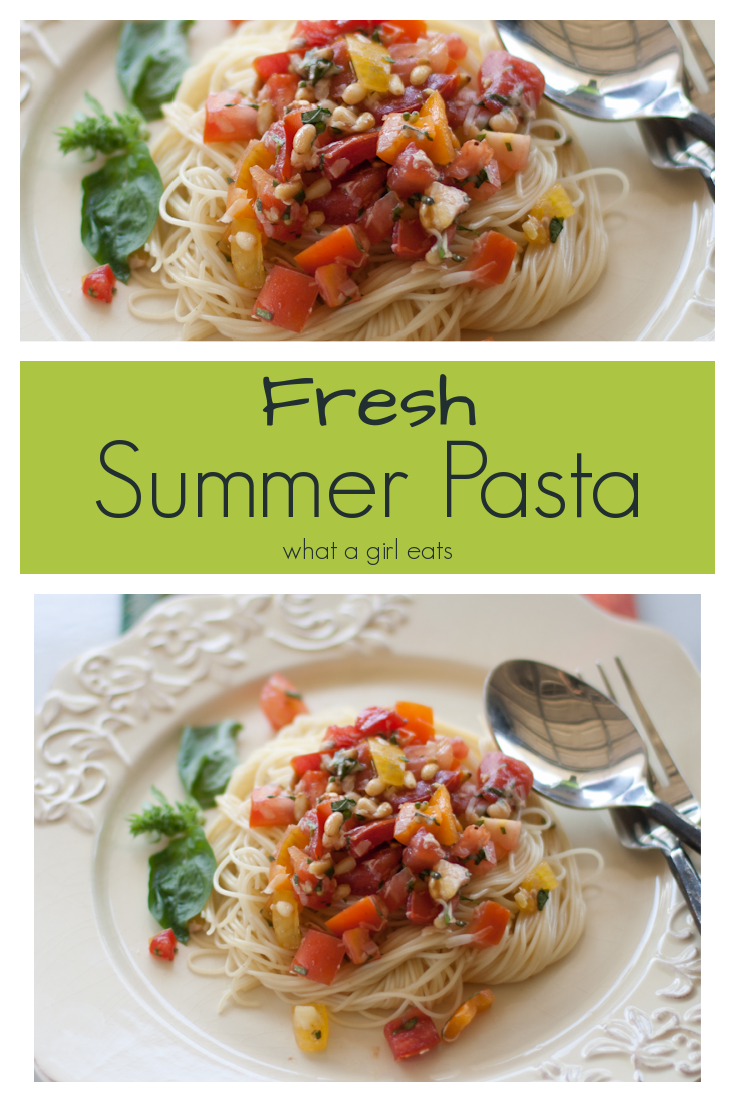 This fresh, no cook pasta sauce takes advantage of summer tomatoes. Tossed with garlic, pine nuts and parmesan cheese this sauce is delicious on pasta or bruschetta