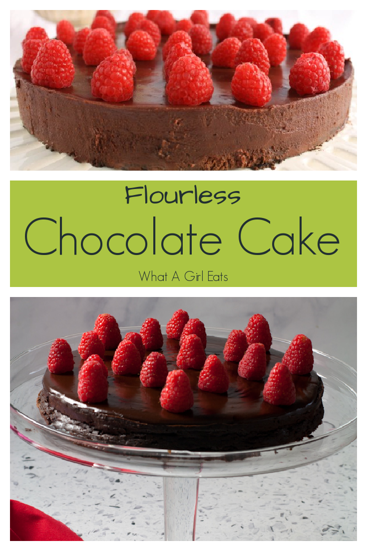 Gluten Free Flourless Cake is rich and decadent with a dark chocolate ganache topping.