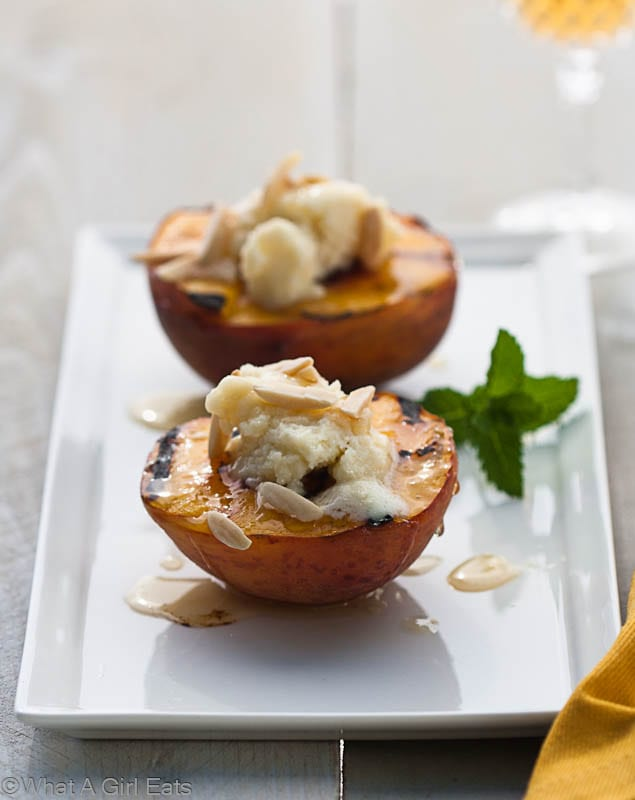 Grilled Peaches with honey, almonds and mascarpone.