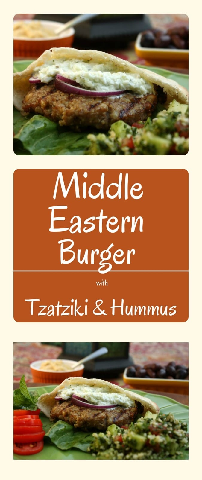 Middle Eastern Burger with Tzatziki and Hummus.