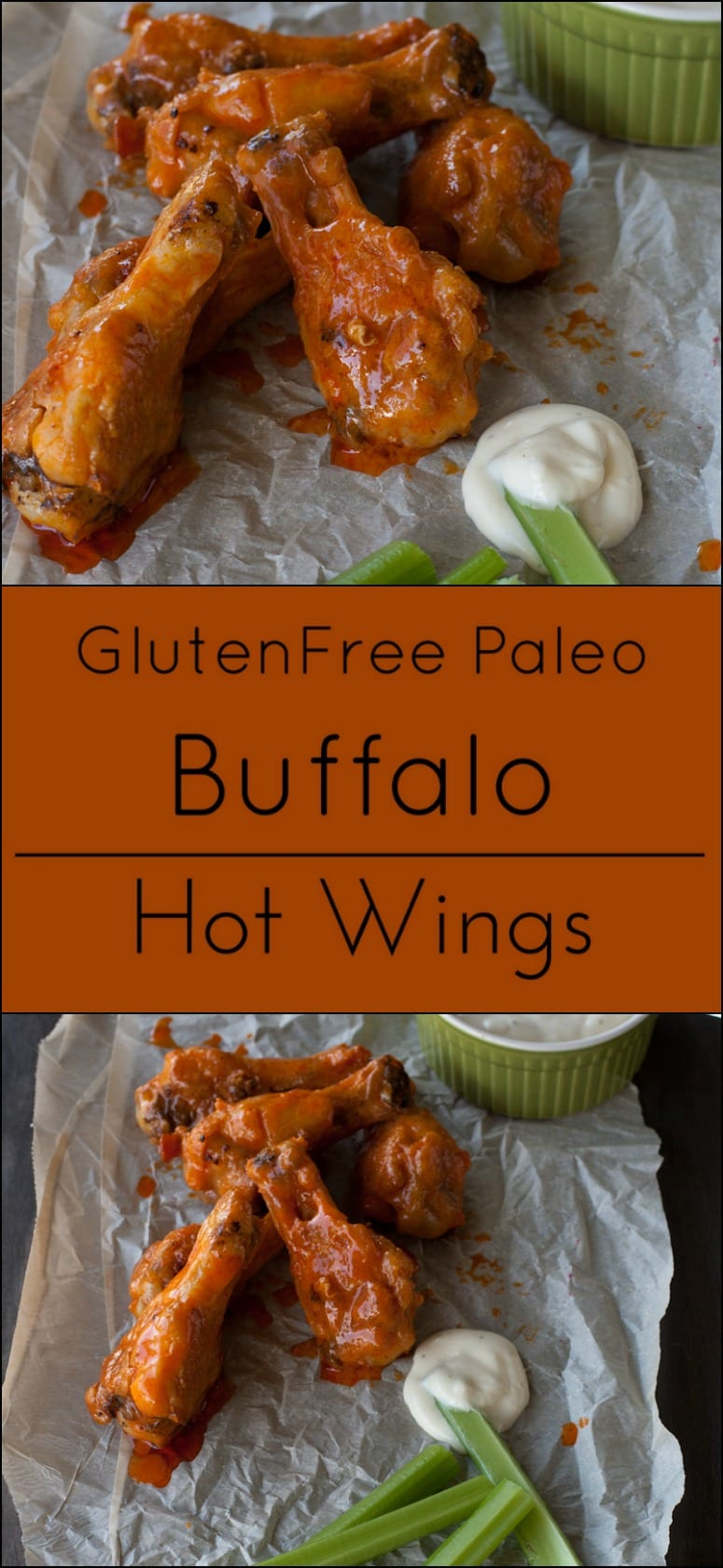 Easy Buffalo Hot Chicken Wings are naturally gluten free and Paleo! Perfect with Blue Cheese Dressing.