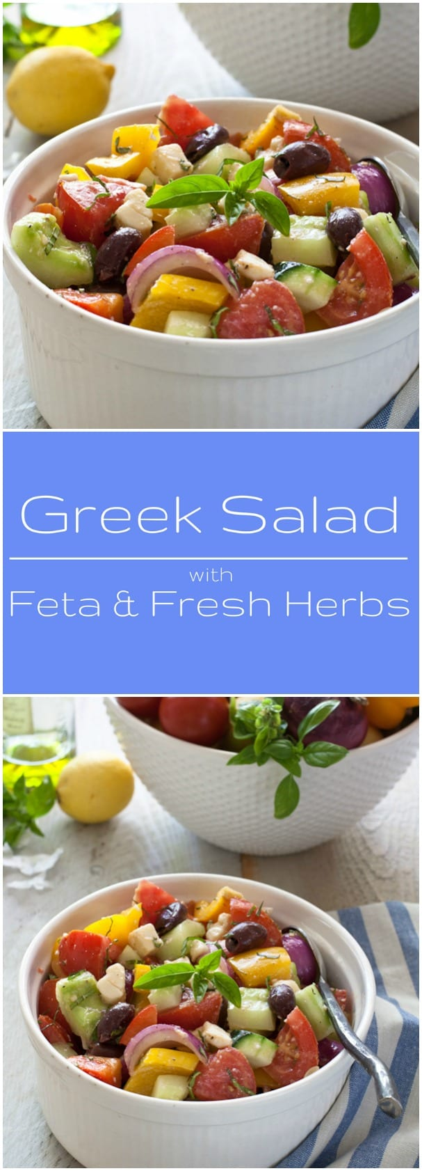 Delicious Greek Salad with Feta and Fresh Herbs. Gluten free and vegetarian.