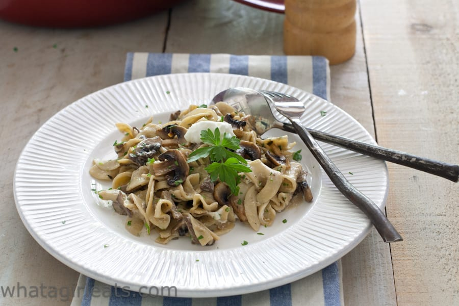 Vegetarian Mushroom Stroganoff. A creamy sauce and lots of mushrooms, makes this a delicious vegetarian entree. @whatagirleats