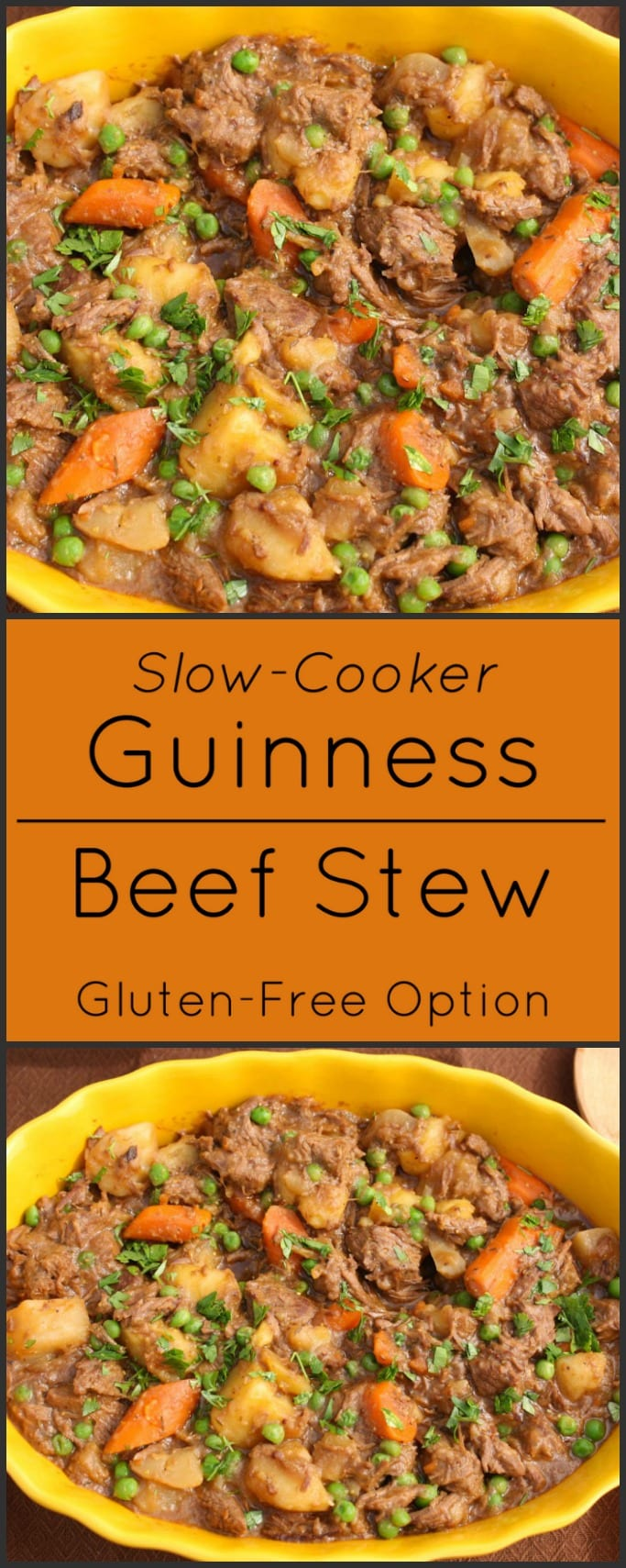 Slow-cooker Guinness Beef Stew with winter vegetables. Gluten free.
