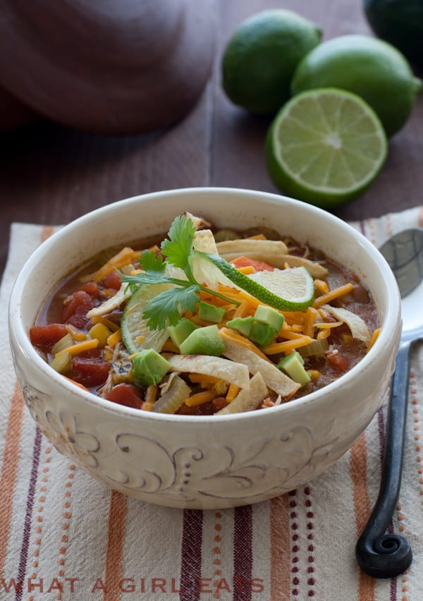 Chicken Tortilla Soup Leftover Chicken Recipe What A Girl Eats