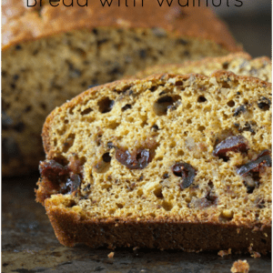Moist and tender Pumpkin Cranberry Bread with Walnuts and a hint of autumn spices.