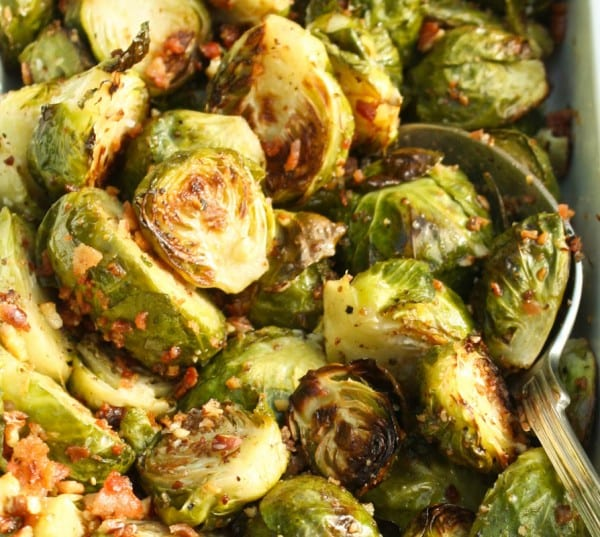 Brussels sprouts with bacon and pecans. A side for a Southern Thanksgiving