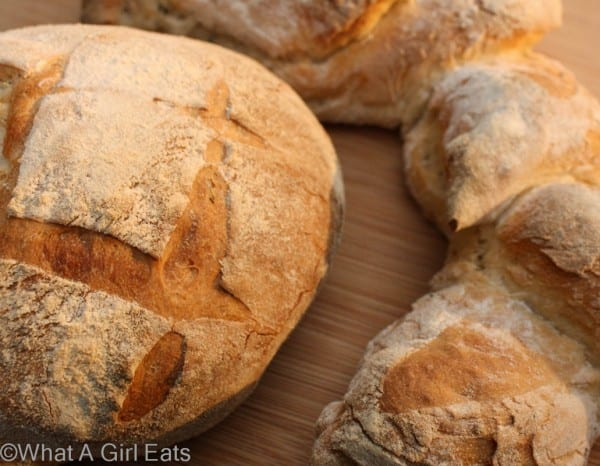 Artisan bread using olive oil bread dough. @whatagirleats.com