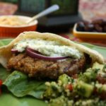 Middle Eastern Burger with tzatziki, hummus and tabbouleh. @whatagirleats.com