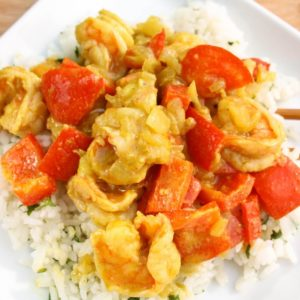 Yellow Curry Shrimp with Ginger Jasmine Rice