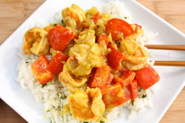 Yellow Curry Shrimp with Ginger Jasmine Rice | WhatAGirlEats.com