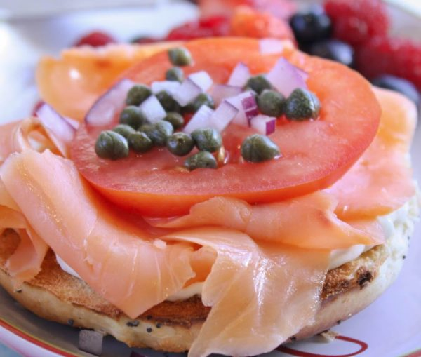 Lox and Bagels - the perfect celebration breakfast! Get the recipe on WhatAGirlEats.com
