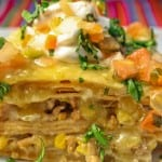 Enchilada Casserole - This easy Mexican dinner recipe can be made with turkey, beef, or chicken. | Recipe from @whatagirleats