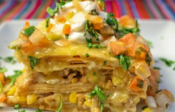 Turkey Enchilada Casserole with Green Sauce - This Mexican dinner recipe can be made with beef or chicken, too. | from @whatagirleats