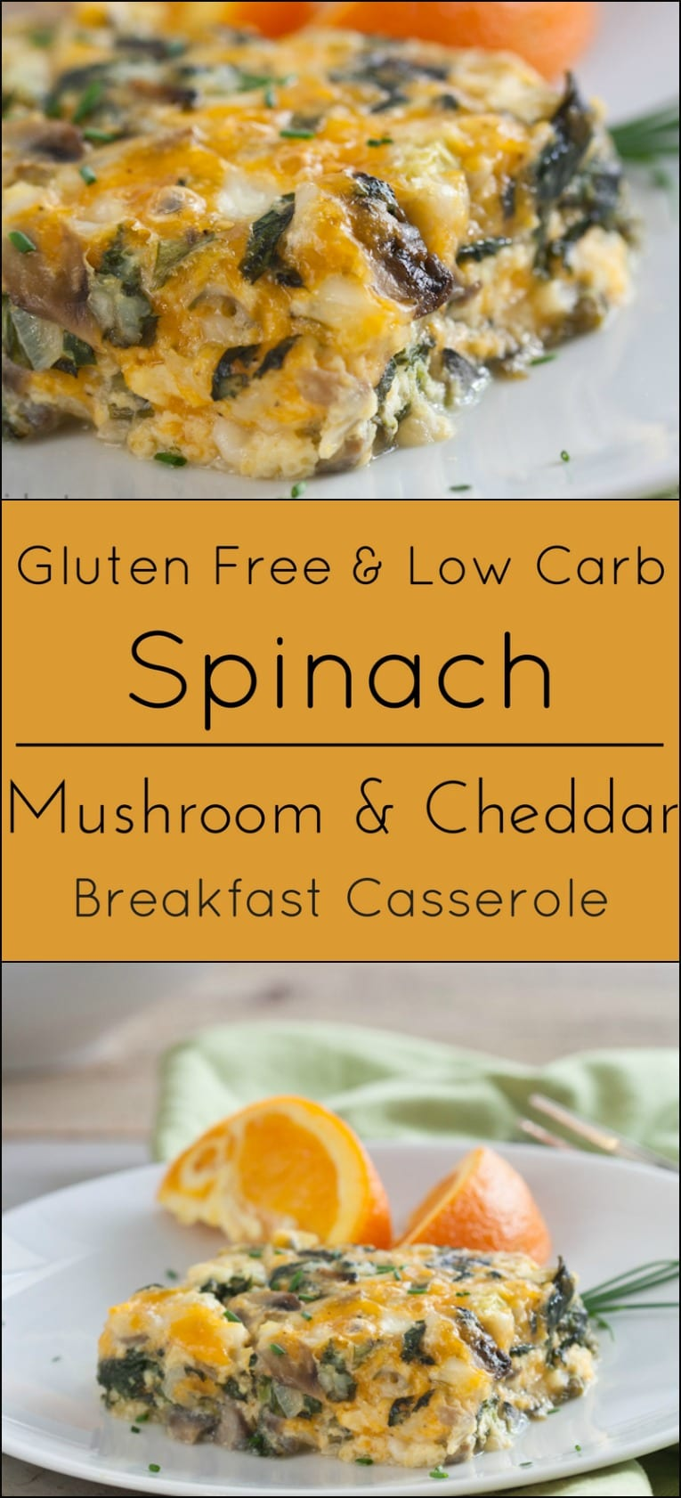 Gluten free, vegetarian and low carb, Spinach, Mushroom and Cheese Breakfast Casserole. Perfect for brunch or breakfast.