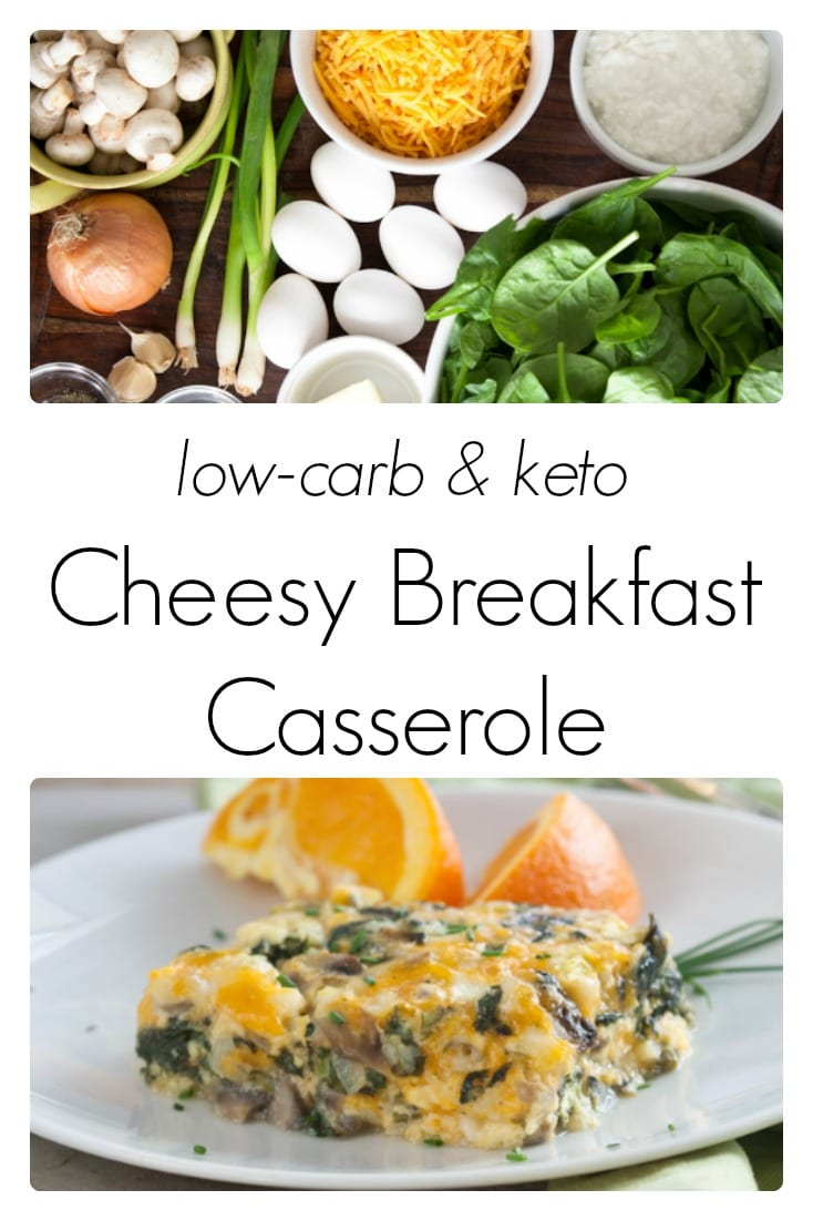 This low carb and keto friendly spinach and mushroom casserole is easy to make and perfect for breakfast, lunch or dinner!