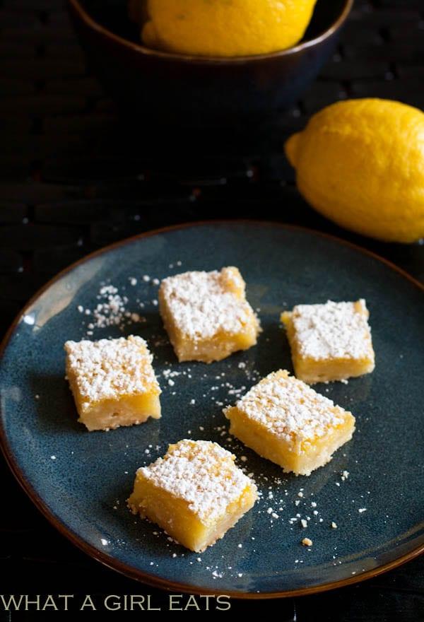 Meyer Lemon Bars   Recipe on WhatAGirlEats.com
