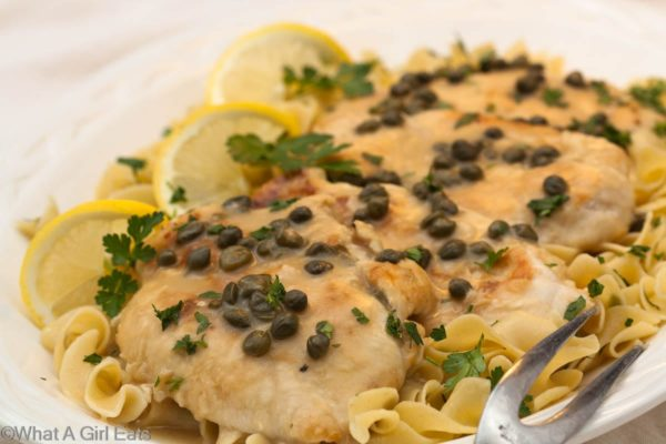 Savory Chicken Piccata | Recipe on WhatAGirlEats.com