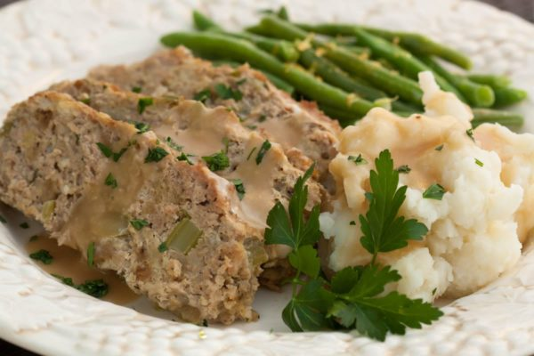 Turkey Meatloaf, mashed potatoes and lemony green beans and gravy. This is a really good meat loaf recipe! | WhatAGirlEats.com