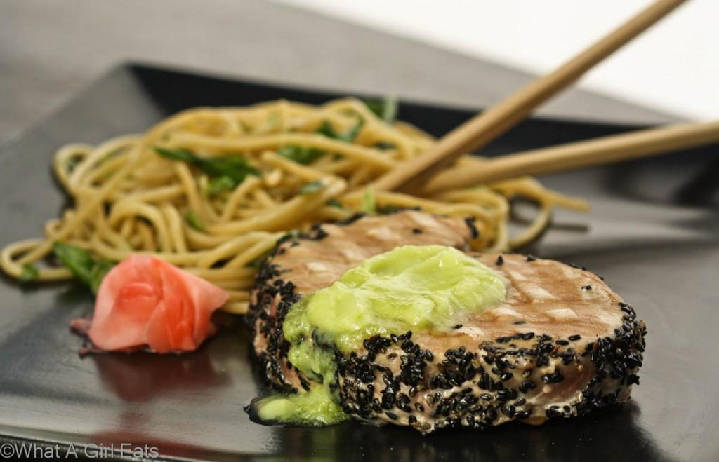 Seared Ahi Tuna with Wasabi Butter and Garlic Noodles