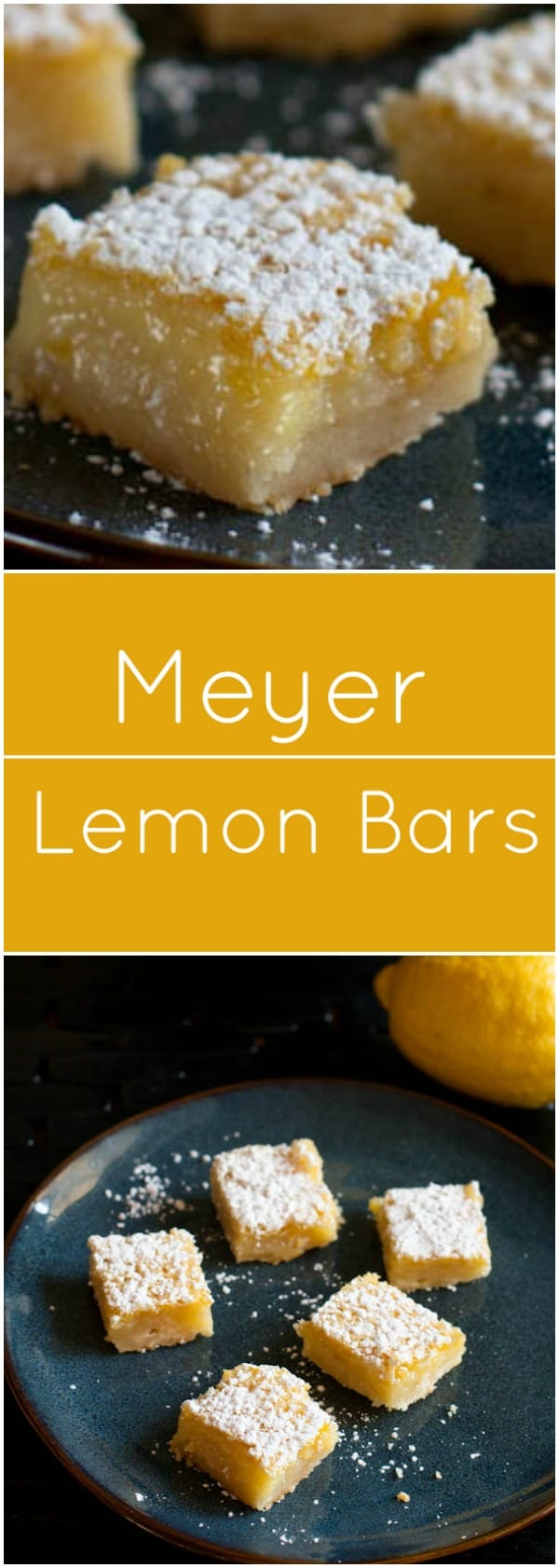 Tangy Meyer Lemon Bars with shortbread crust.