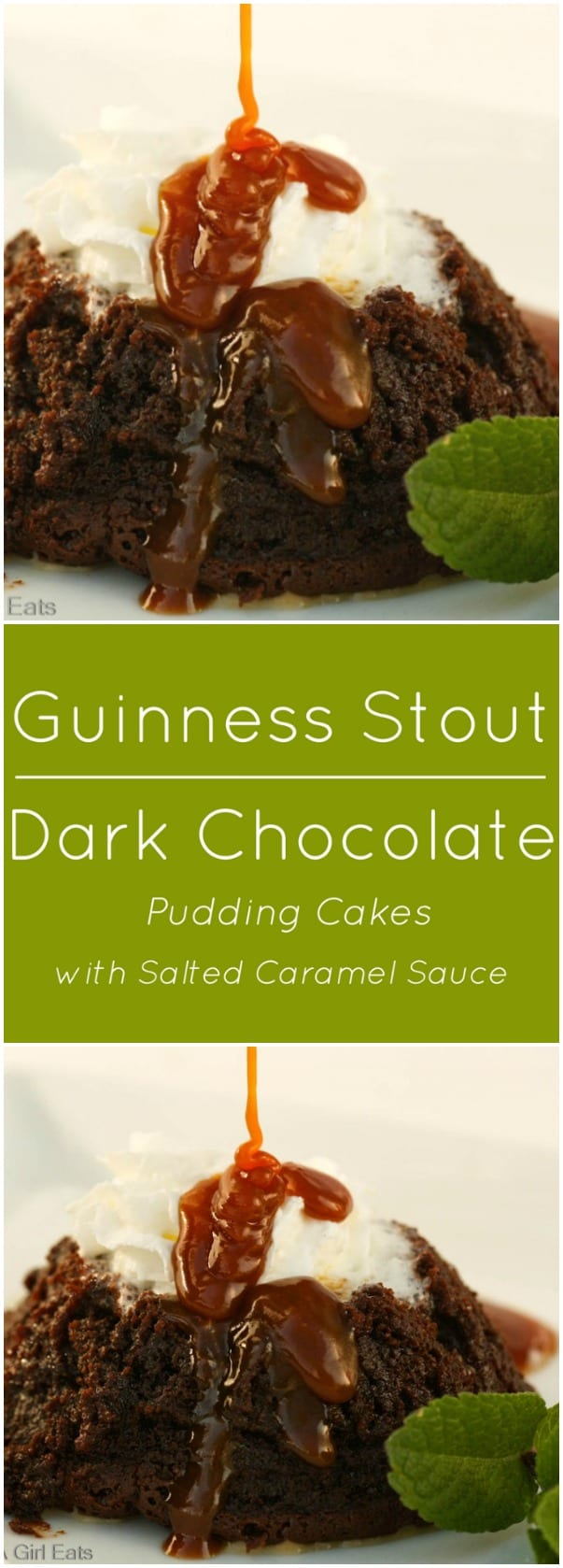 Flourless Guinness Stout dark chocolate pudding cakes with salted caramel sauce.