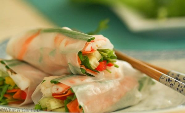 Homemade shrimp Spring rolls are an Asian appetizer or entree. Light and airy, filled with fresh vegetables and tender shrimp. | What a Girl Eats
