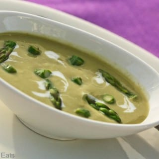 Dairy Free Cream of Asparagus Soup - This dairy free soup tastes so rich, you'll swear it has dairy products in it. Yet it's just pureed asparagus, so it's healthy and low-calorie. | What a Girl Eats