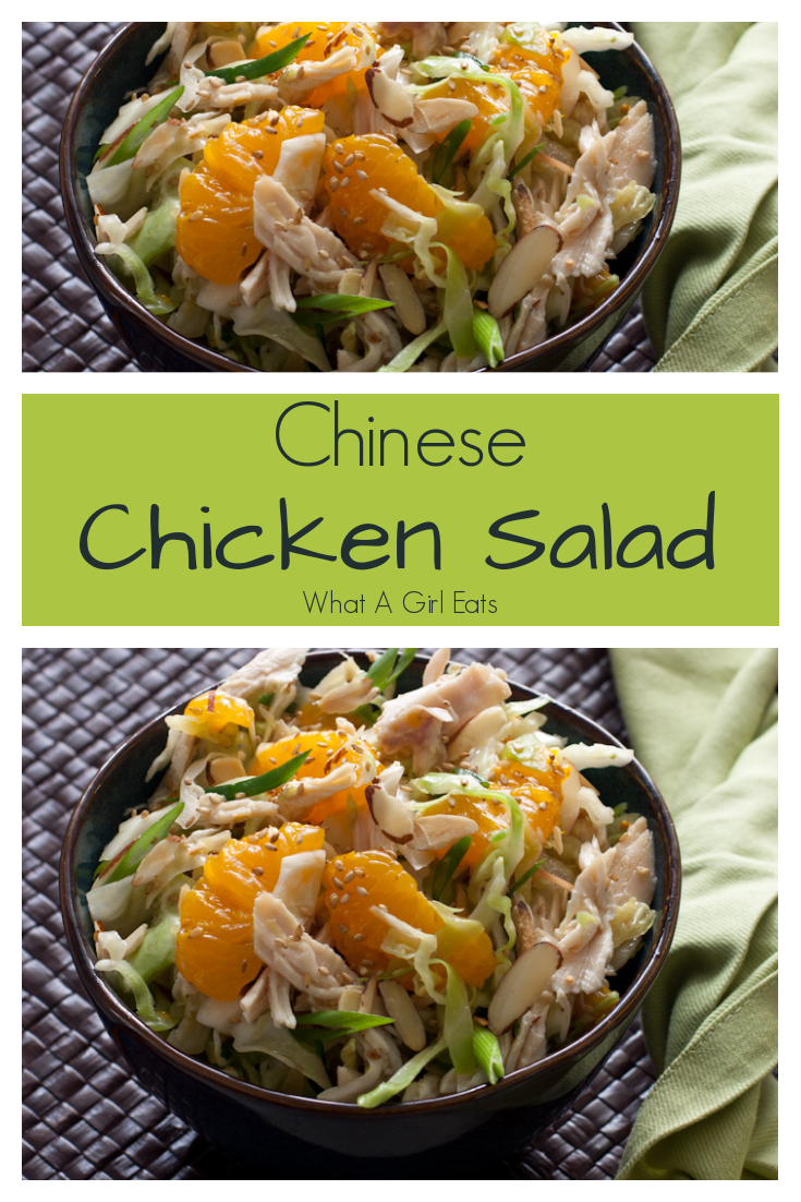 Low carb and gluten free, this vintage Chinese chicken salad recipe is crunchy cabbage, mandarin oranges and slivered almonds in a sesame dressing.