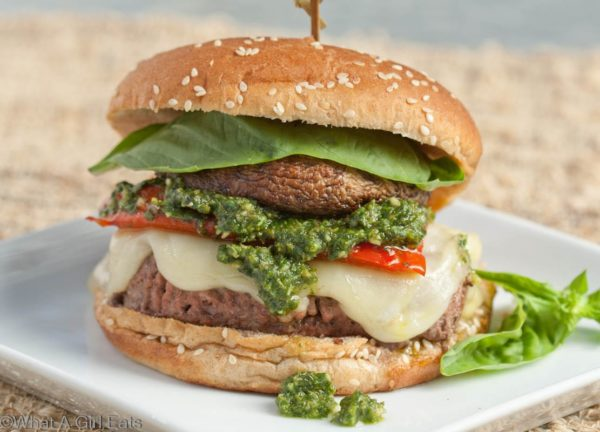 Mediterranean Burger, made with ground sirloin, with grilled portobello mushrooms, red bell pepper, provolone and pesto.