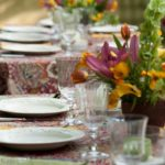 Tables set for al fresco dining.