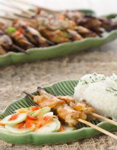 Sate with Peanut Sauce, Coconut Rice and Cucumber Salad.