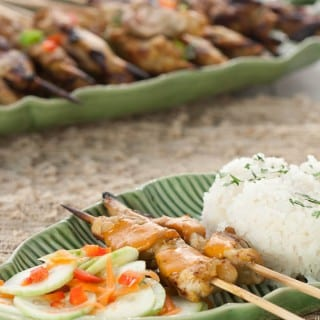 Chicken satay with peanut sauce is a delicious and easy to make dinner. Skewers of seasoned chicken breast pair up with a flavorful Asian peanut dipping sauce.