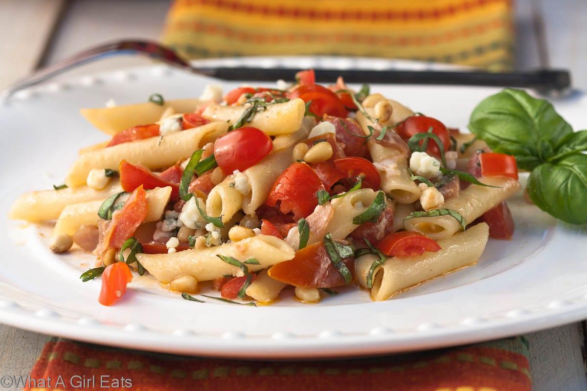 Summer Pasta Salad Full Of Salty Prosciutto Gorgonzola Cheese Garden Tomatoes Pine