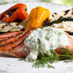 Grilled Salmon with Cucumber Sauce