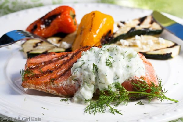 Grilled Salmon with Cucumber-Dill Sauce | What a Girl Eats