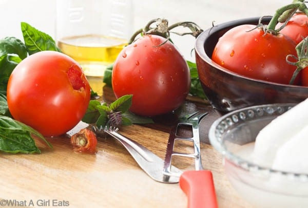 fresh garden tomatoes, used to make a delicious and simple caprese salad