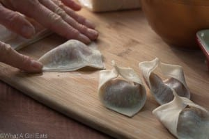 How to make homemade wontons. Seal the edges of the wontons with a little water.