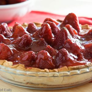 Strawberry pie glace is a fresh strawberry pie that is perfect for any summer dessert. The strawberries are preserved in sugar, giving them a beautiful glossy appearance! | from @whatagirleats