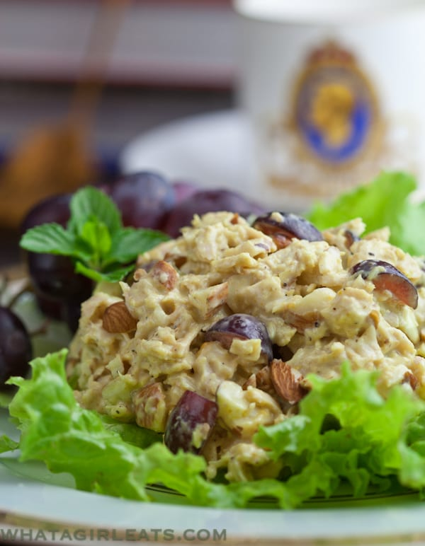 Coronation Chicken Salad on a bed of lettuce.