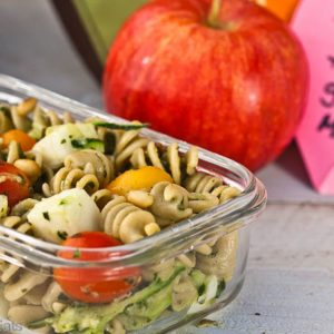 Pesto Pasta Salad is a delicious, easy to make side dish with tender pasta, vegetables, and cheese. This recipe can also be served as a meatless main dish.