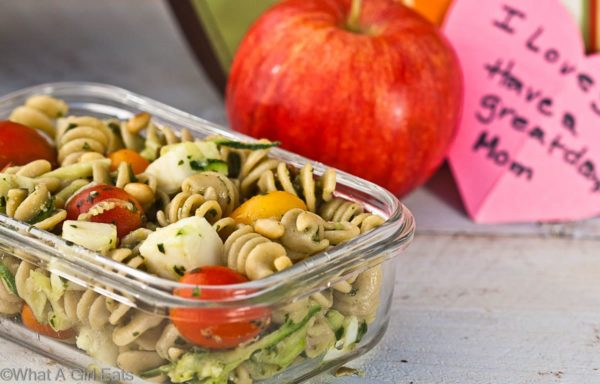 Pesto Pasta Salad - a delicious, easy to make side dish that can also be served as a meatless main dish. | @whatagirleats
