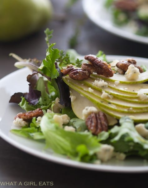 Pear and Gorgonzola Salad with Candied Pecans   @whatagirleats