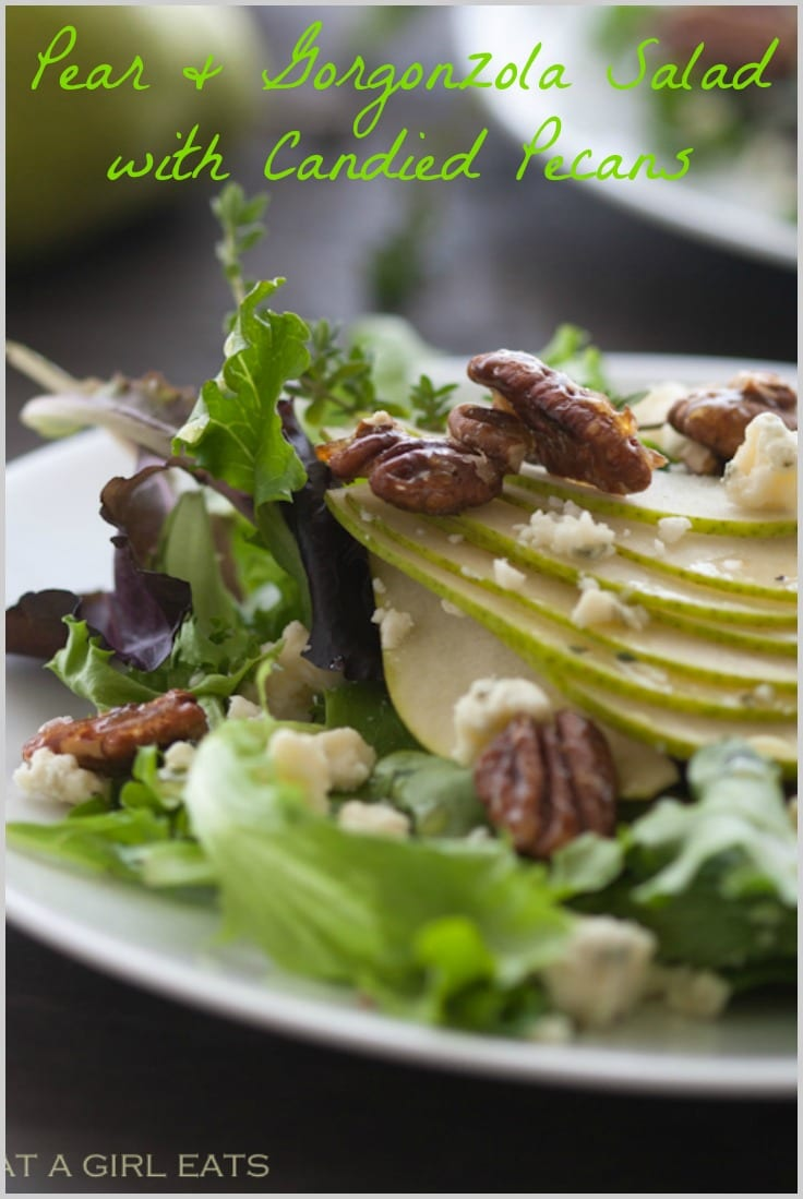 Pear and Gorgonzola Salad with Candied Pecans Pin