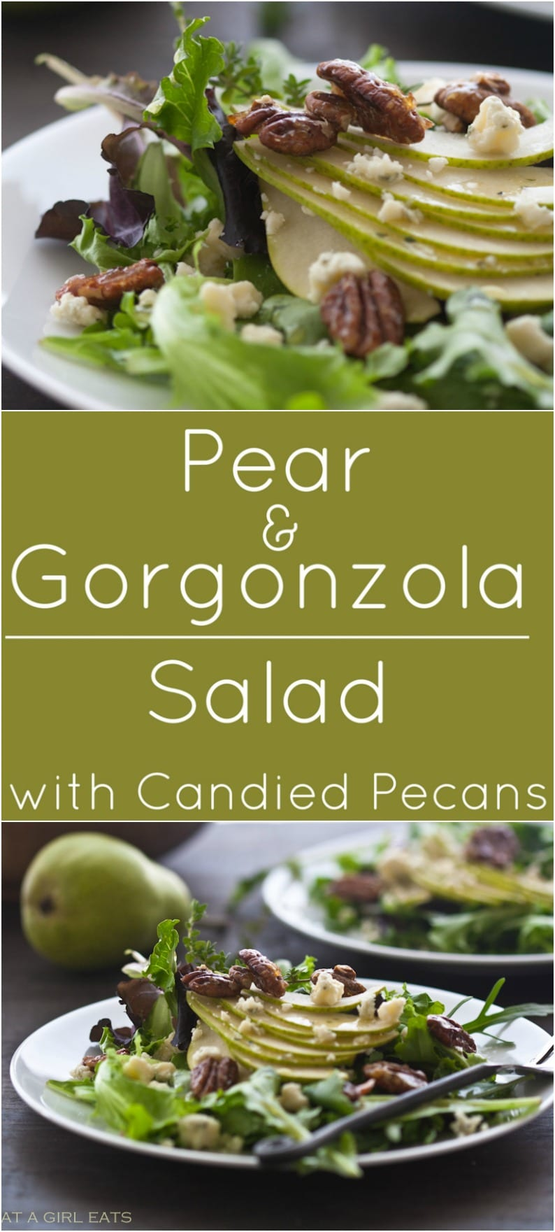 Pear and Gorgonzola Salad with Candied Pecans. Naturally gluten free!